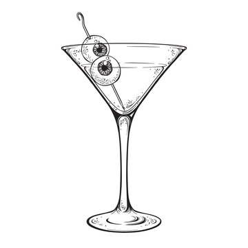 Martini with eyeballs cocktail in glass halloween design hand drawn line art vector illustration.