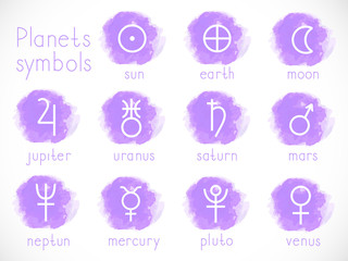 Vector set of astrological planets symbols with watercolor elements.