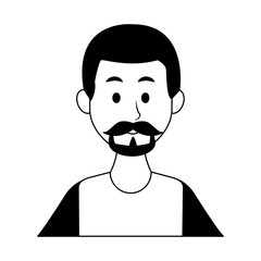 Young man with beard and casual clothes cartoon vector illustration graphic design