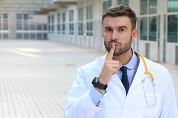 Doctor requesting silence in hospital