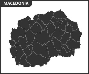 The detailed map of Macedonia with regions or state. Administrative division.