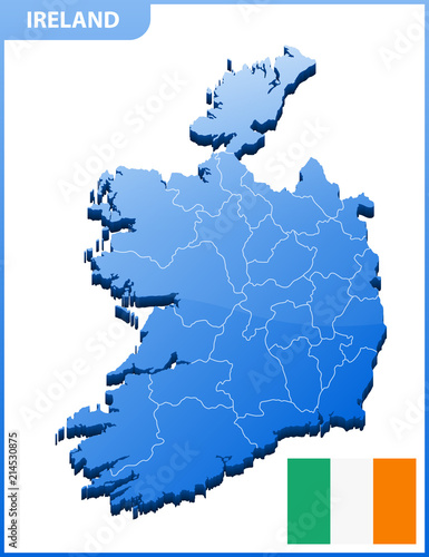 Detailed Map Of Ireland Vector.Highly Detailed Three Dimensional Map Of Ireland With Regions Border
