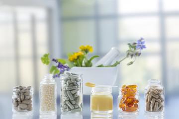 Medicine, Healthcare, Pharmaceuticals, Food supplements bright background