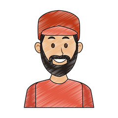 Young man with hat and beard casual clothes cartoon vector illustration graphic design