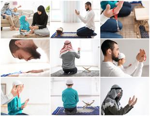 Set with Muslim people praying indoors. Islamic religion