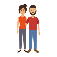 Cute and young couple cartoon vector illustration graphic design