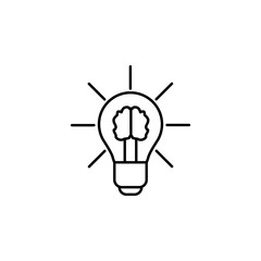 brain in a light bulb icon. Element of sturt up icon for mobile concept and web apps. Thin line brain in a light bulb icon can be used for web and mobile