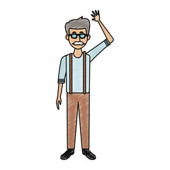Old man with glasses and mustache cartoon vector illustration graphic design