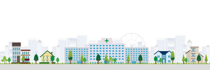病院 建物 街並み 背景