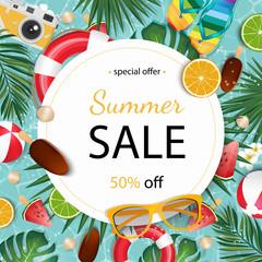 Summer sale banner vector illustration. Summer elements in colorful backgrounds.
