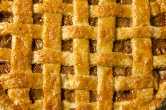 Extreme closeup apple pie