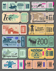 Vector vintage tickets of zoo animals and fish