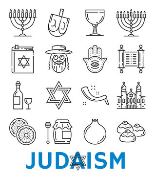 Vector Judaism religious symbols thin line icons