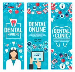 Vector banners for dental health clinic