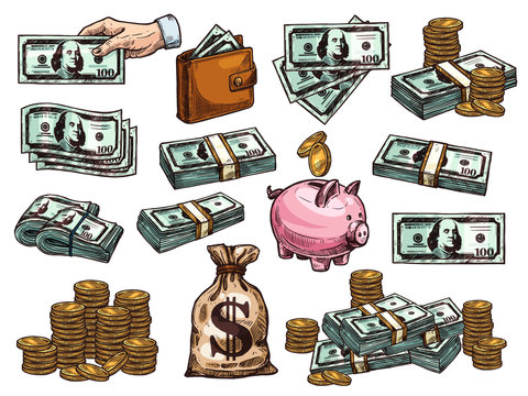 Vector sketch icons of money dollars and coins