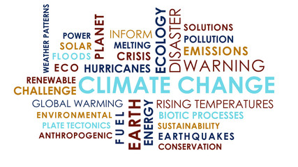 Climate Change related animated text word cloud on white background.