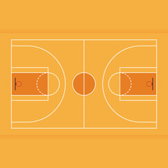 Basketball court from top view flat design