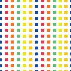 Raster rainbow seamless vector pattern. Hand drawn orange, yellow, green, orange, red,and blue squares on a white background. Great for backgrounds, paper projects, and fabric.