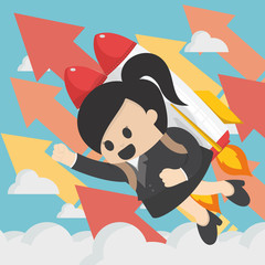 Cheerful businesswoman flying off with jet pack vector flat illustration of success.successful