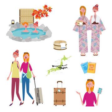 インバウンド 外国人旅行者 温泉 イラスト セット