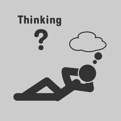 Symbol of people lying thinking.