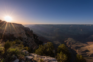 Last Rays of Sun Over Grand Canyon. Sunset from Mather Point.