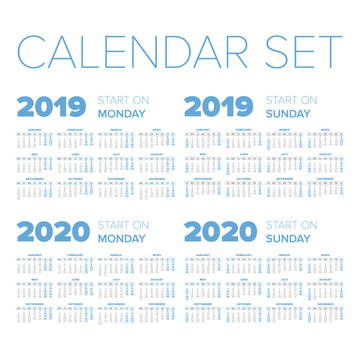 Simple 2019-2020 year calendar set