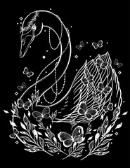 Sketch graphic illustration Beautiful Swan sun fairytale character with mystic and occult hand drawn symbols. Vector illustration. Vintage Hands with Old Fashion Tattoos,print t shirt.