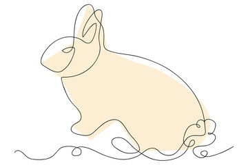 continuous line drawing of cute rabbit