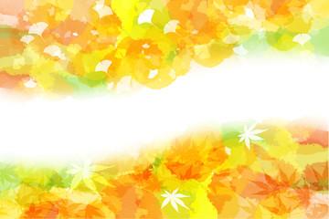 秋をイメージした背景(イチョウと紅葉)
