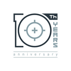 """Modern symbol """"10 years"""" for logo, emblem or sign. Creative template for celebration, anniversary and congratulation design. Vector illustration."""
