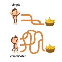 Opposite simple vector complicated illustration