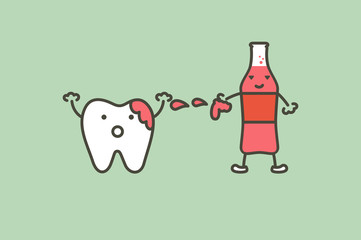 teeth are smudged from soda drink , decay tooth concept - dental cartoon vector flat style