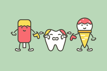 teeth are smudged from ice cream , decay tooth concept - dental cartoon vector flat style