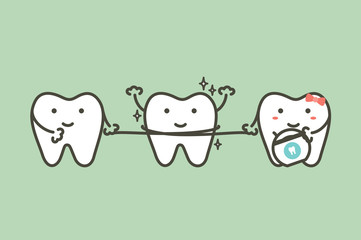 healthy teeth cleaning his friend by dental floss - tooth cartoon vector flat style