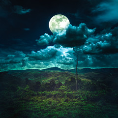 Wall Mural - Beautiful night sky with cloudy and full moon above mountain range.