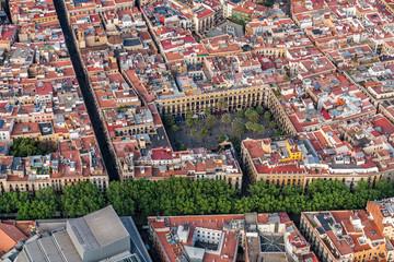 La Rambla street in Old Town Barcelona, aerial view, Spain