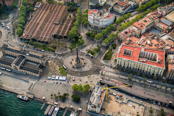 Aerial view of Barcelona seafront Mirador Monument, Spain