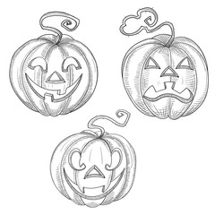 Set of hand-drawn halloween pumpkin faces isolated on white.