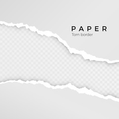 Torn paper sheet. Torn paper edge. Paper texture. Rough broken border of paper stripe. Vector illustration isolated on transparent background