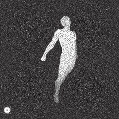 Jumping man. 3D model of man. Black and white grainy dotwork design. Stippled vector illustration.