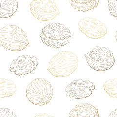 Walnut graphic color seamless pattern background sketch illustration vector