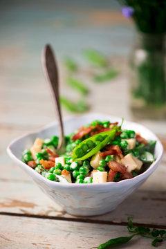 Creamy Green Pea Salad with Bacon.selective focus