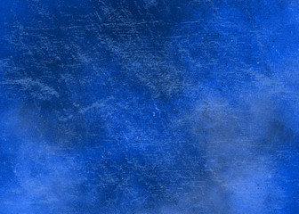Blue abstract textured background to the point with spots of paint. Blank background design banner.