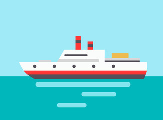 Marine Liner Icon Colorful Vector Illustration