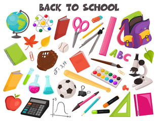 Hand drawn school objects collection. Vector illustration of education design elements isolated on white background. Back to school