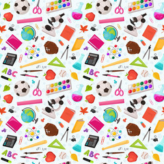 School doodle background. Vector seamless pattern from school elements hand drawn on white background. Back to school backdrop in sketch style.