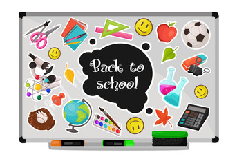 Colorful school stickers collection. Vector illustration of education objects stamps on white board. Back to school composition.