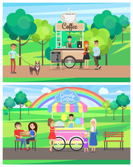 Street Food Posters Colorful Vector Illustrations
