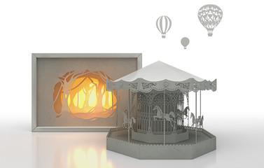 Origami, Creazione artistica in carta, foresta, carosello, illustrazione 3d, fantasy, carosello